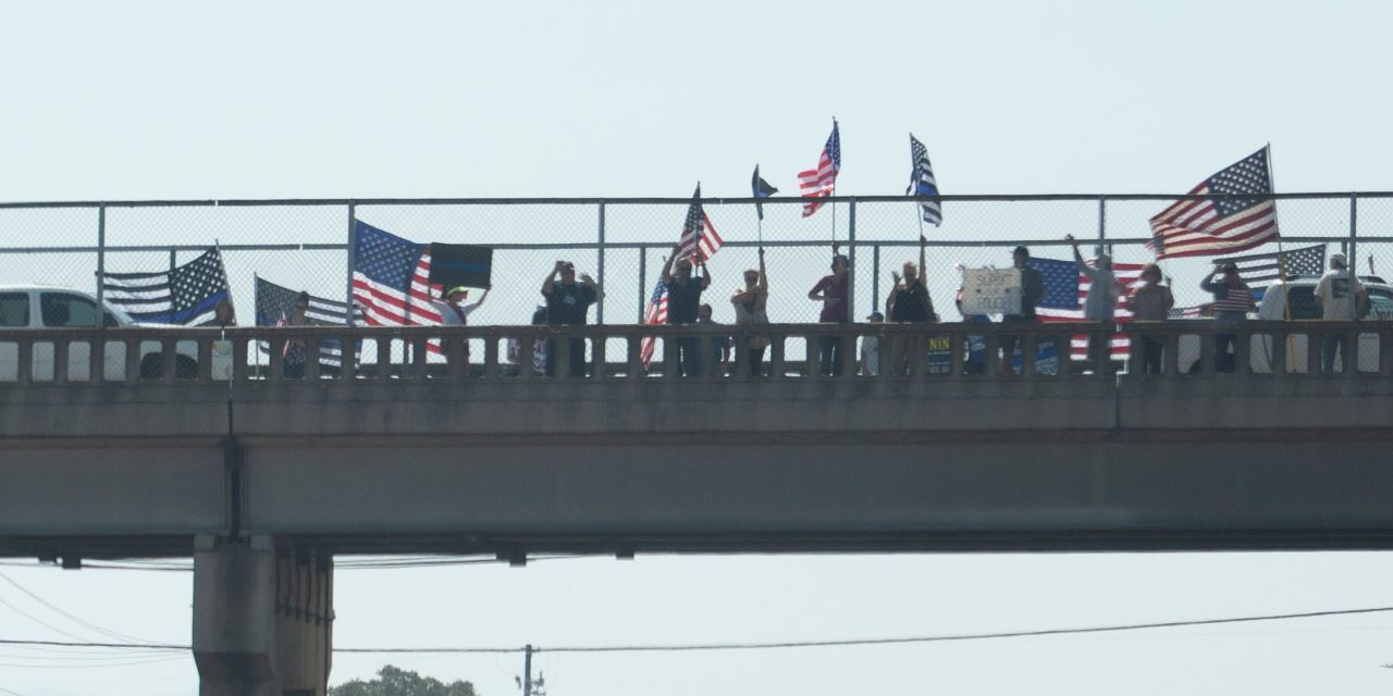 Central Coast Overpasses Along Highway 101 Filled with 'Back the Blue'