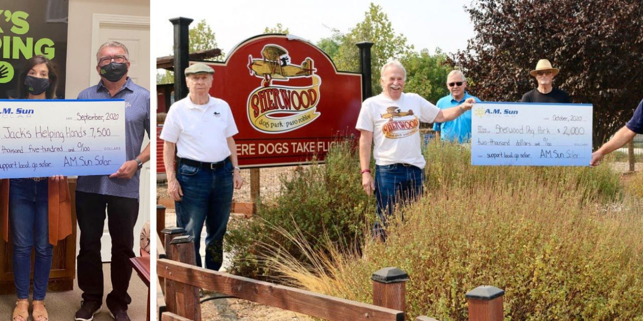 A.M. Sun Solar donates $9,500 to Jack's Helping Hand and Sherwood Dog Park
