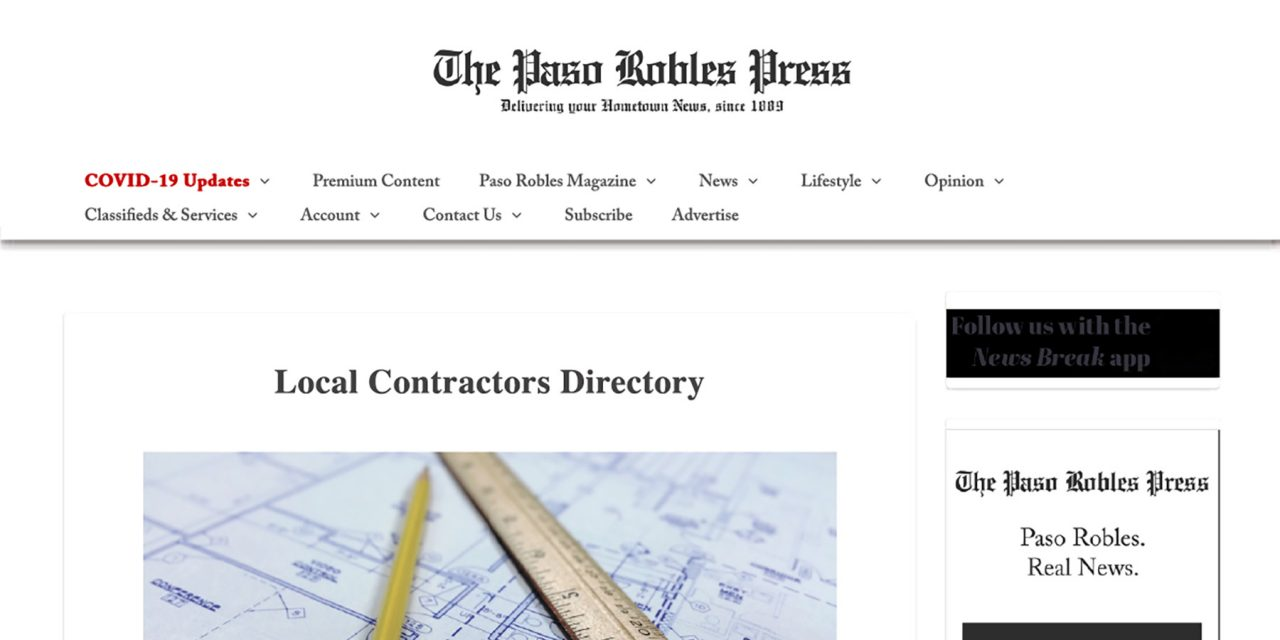 Paso Robles Press Contractors Directory Adds Digital