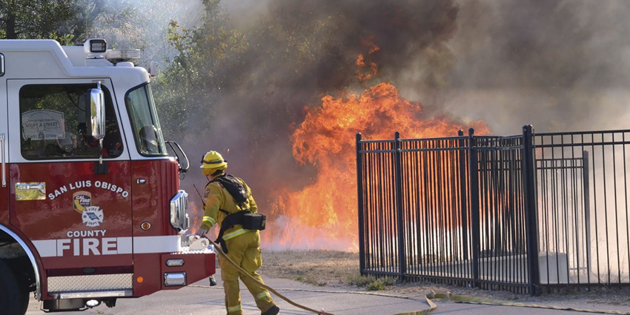10-Acre Grass Fire Threatens Homes Along Navajo Ave.