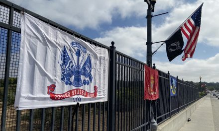 Local Residents Display Flags Along Niblick Bridge to Honor Fallen Soldiers