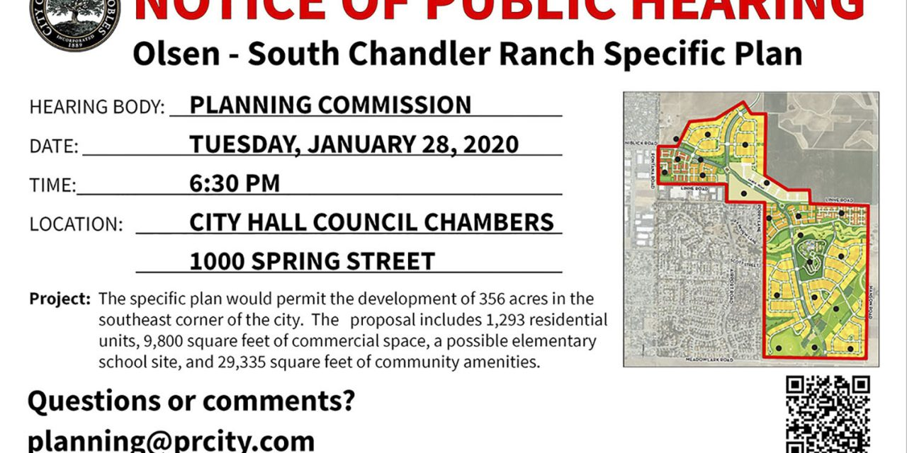 Notice of Hearing: OLSEN – SOUTH CHANDLER RANCH SPECIFIC PLAN